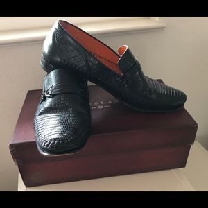 Mezlan Men's Black Lizard Skin Dress Shoes